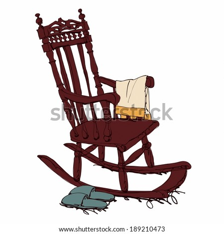 Rocking Wooden Chair With Napkin And Slipper