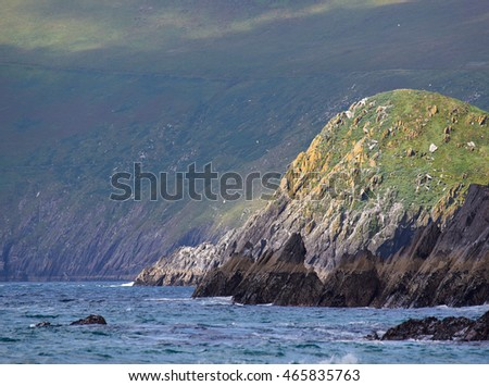 Rocky and rugged coastline in Dingle, Ireland