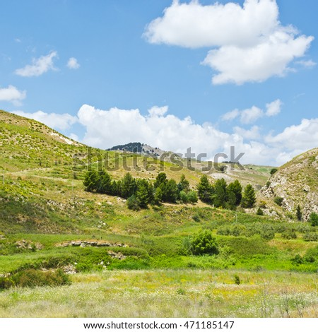 Rocky Landscape of Sicily in Spring