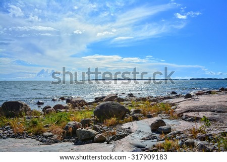 Rocky seashore on Baltic Sea