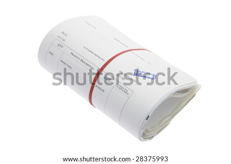Roll of Business Documents on White Background