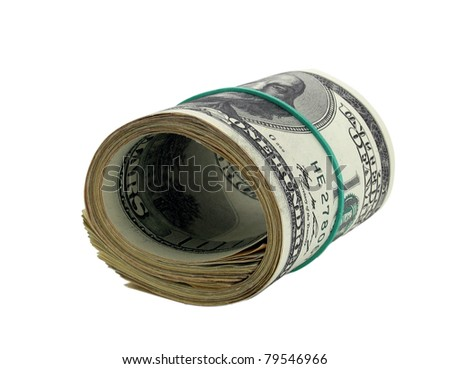roll of one hundred dollars banknotes over white