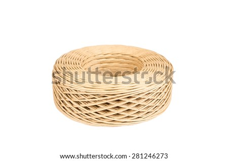 Roll of paper twine cord isolated on white background