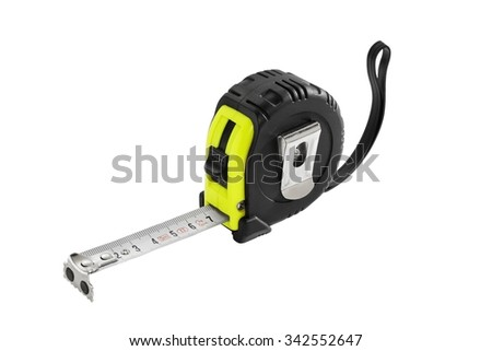 Roll-up tape measure on a white background
