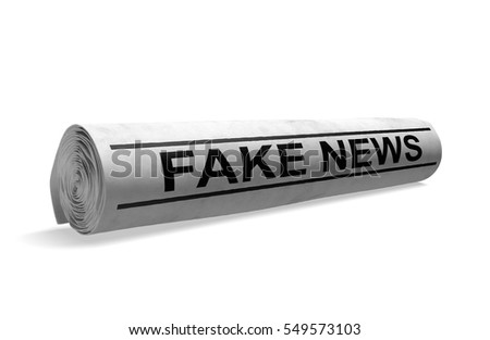 Rolled up newspaper with a fake news headline for bad media journalism, 3D rendering