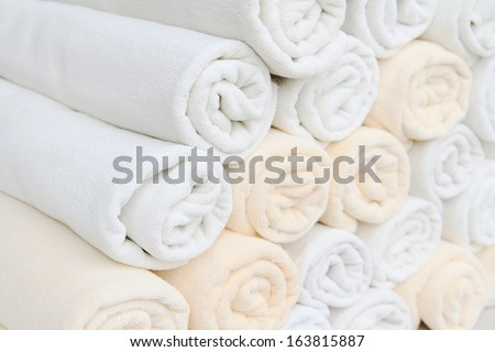 Rolled up spa towels