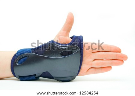 Roller`s hand with glove on isolated