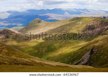 Rolling hills in Lake District England