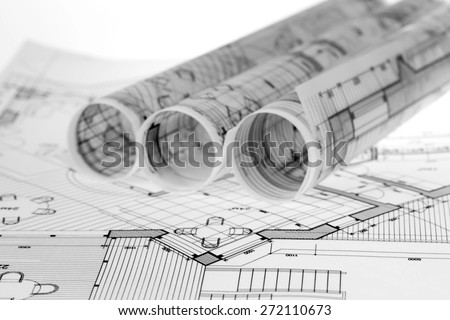 rolls of architecture blueprints & house plans