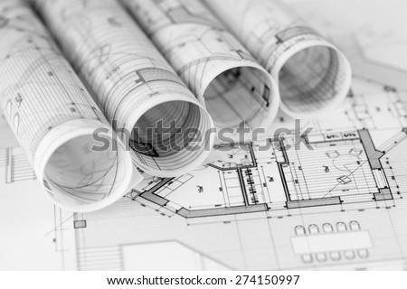 Architecture Blueprints architecture blueprints house plans stock photo 487077766