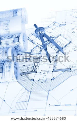 Architecture Blueprint House Plan Vector Stock Vector