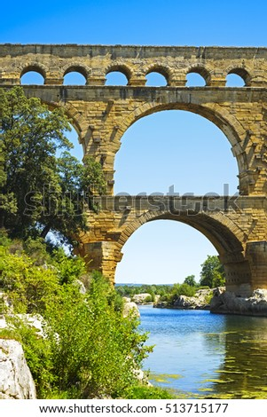 Roman aqueduct Pont du Gard, Unesco World Heritage site. Located near Nimes, Languedoc, France, Europe.