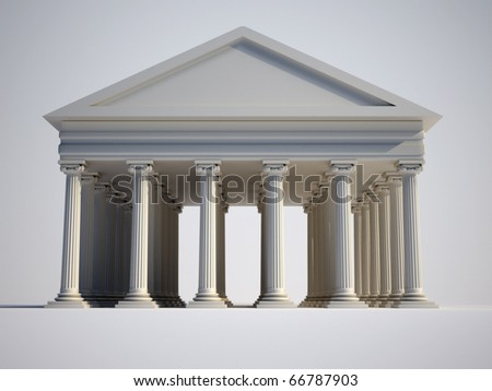 Roman building with ionic style columns - 3d render