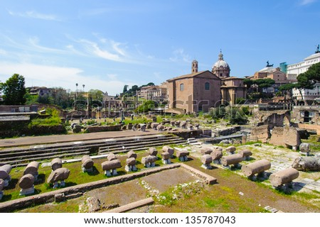 Roman Forum, a rectangular forum surrounded by the ruins of several important ancient government buildings at the center of the city of Rome.