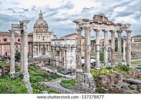 Roman forum ruins on Capitoline hill, Rome, Italy