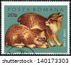 ROMANIA - CIRCA 1972: A 20 bani stamp printed in Romania (catalogue number Scott 2008 2315) shows image of a young lynx, from the young animals series, circa 1972 - stock photo