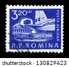ROMANIA - CIRCA 1960: A stamp printed in Romania shows Bucharest airport and tail of an aircraft ilyushin IL-14, circa 1960 - stock photo