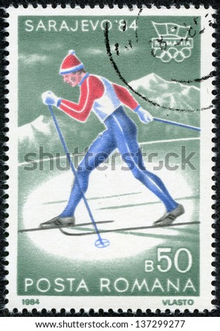 "ROMANIA - CIRCA 1984: A stamp printed in Romania, shows Cross-country Skiing and Olympic Rings, with inscription ""Sarajevo. 1984"", from the series ""Winter Olympic Games, Sarajevo. 1984"", circa 1984"