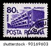 "ROMANIA-CIRCA 1991:A stamp printed in ROMANIA shows image of ""Florica"" hotel spa Venus, circa 1991. - stock photo"