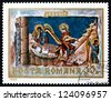 ROMANIA - CIRCA 1969: a stamp printed in the Romania shows The Last Judgement, Detail, Fresco from Voronet Monastery, Wall Painting, circa 1969 - stock photo