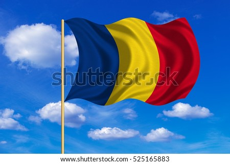 Romanian national official flag. Patriotic symbol, banner, element, background. Correct colors. Flag of Romania on flagpole waving in the wind, blue sky background. Fabric texture