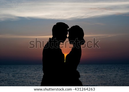 Romantic couple.Beautiful and romantic couple silhouette.