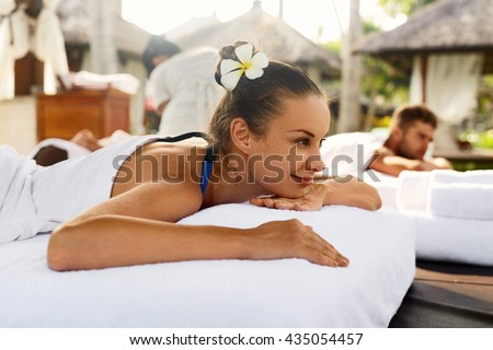 Spa Couple Massage Beautiful Happy Smiling Stock Photo ...
