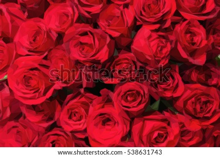 Romantic red roses background in low poly style. Low poly design triangular rose bouquet.