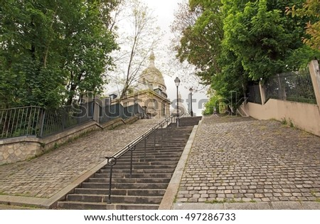 Romantic staircase to the Sacred Heart of Paris, Montmartre (Paris France)