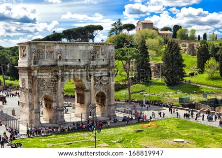 ROME, ITALY - APRIL 16: Constantin Arch in April 16, 2012 in Rome Italy. Commemorate Constantine I's victory over Maxentius at the Battle of Milvian Bridge on October 28, 312