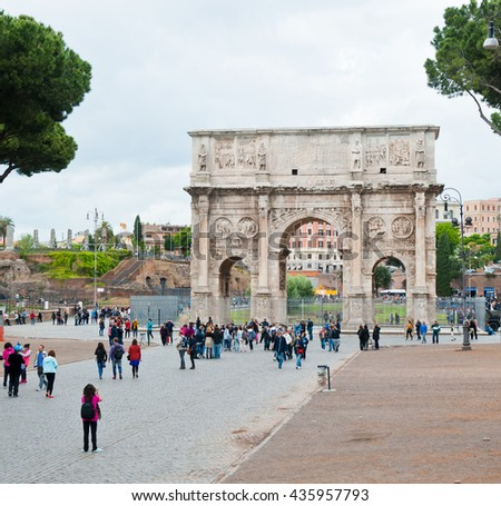 ROME, ITALY - APRIL 27, 2016: The Arch of Constantine