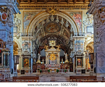 Rome, Italy - August 13, 2016: Nave, altar, Church of Santa Maria in Aracoeli, Rome, Italy. It is designated Church of the city council of Rome.