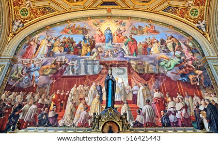 Rome, Italy - August 15, 2016: Room of the Immaculate Conception, frescoes by Podesti, Vatican, Italy