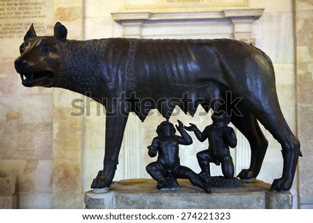 ROME, ITALY - DECEMBER 18, 2011: Etruscan bronze statue Capitoline Wolf displayed in the Capitoline Museums in Rome, Italy.