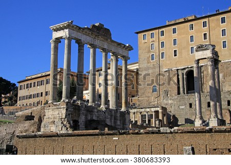 ROME, ITALY - DECEMBER 21, 2012: Ruins of the Temple of Saturn at Roman Forum