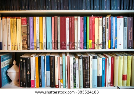 ROME, ITALY - FEBRUARY 24 2016: Some books on shelves, a personal home library