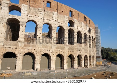 ROME, ITALY - JUNE 24: Many tourists visiting The Colosseum or Coliseum, also known as the Flavian Amphitheatre in Rome, Italy on June 19, 2016.