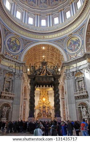 ROME, ITALY - MARCH 11: Inside Saint Peter's Basilica in Vatican City after catholic messa  on March 11, 2011 in Rome, Italy