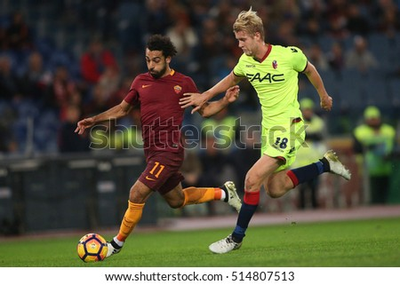 Rome, Italy 6 November, 2016: Salah and Helander in action during the  Serie A league match between A.s. Roma vs Bologna at Olympic Stadium in Rome on November,  2016.