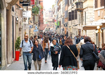 ROME , ITALY - 6 OCTOBER  2015 : Via Della Vite on October 6, 2015 in Rome. Via Della Vite is a busy and fashionable street of Rome, Italy.