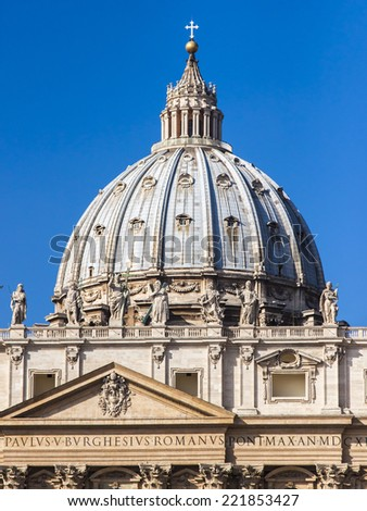 Rome, Italy, on October 10, 2012. A dome of St. Peter's Cathedral in Vatican