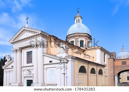 Rome, Italy - San Rocco church. Baroque landmark.