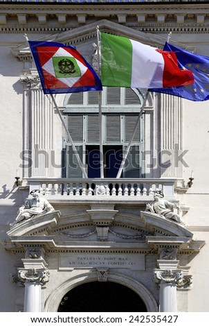 Rome, Italy - September 20, 2011:Quirinal Palace at the Piazza del Quirinale in Rome - Residence of the President of the Italian Republic.