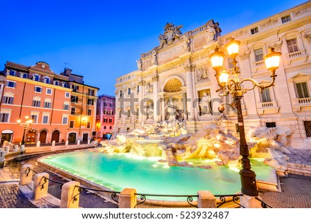 Rome, Italy. Stunningly ornate Trevi Fountain, built in, illuminated at night in the heart of Roma.