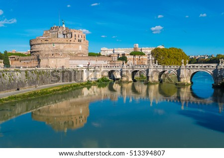 Rome (Italy) - The Tiber river and the monumental Lungotevere