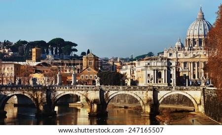 Rome, Italy. View from the embankment of the Cathedral of St. Peter