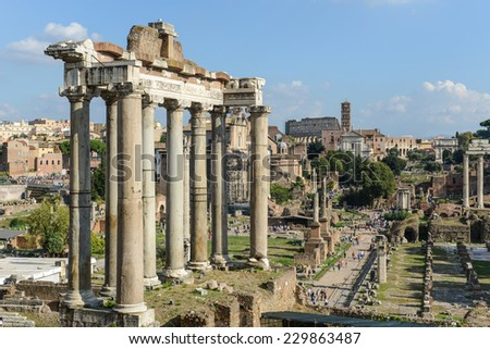 ROME - OCT 19: Roman Forum on October 19, 2014 in Rome, Italy. The Roman Forum is an important monument of antiquity and is one of the main tourist attractions of Rome.