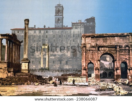 Rome, The Column of Phocas and the Arch of Septimius Severus in the Roman Forum, Rome, Italy; color photochrom ca 1890s.