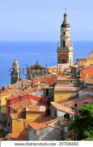 Roofs and baroque Basilica of Saint Michel Archange at Menton in France, department Alpes Maritimes