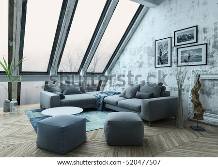 Rooftop apartment interior with sofa chairs, picture frames and herringbone style hardwood floor as 3D rendering
